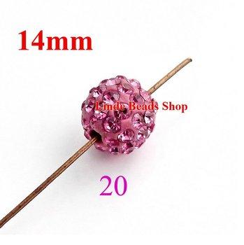 14mm Shamballa Beads christmas ornament Clay Crystal shamballa finding ball Rose colour SH14020