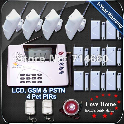 Wireless Home Alarm System w/ Auto Dialer Home Security GSM PSTN Guard Burglar Dual mode House Safety Surveillance Pet-friendly(China (Mainland))