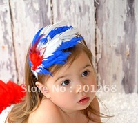 20pcs/lot BABY flower headbands Christmas hair band baby Feather headband Hair Accessories free shipping