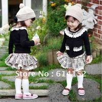 2012 autumn sweater + skirt sets childrens clothes girls coat/plaid skirts 2pcs/set free shipping