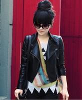 2014 New Fashion Style Pu Leather Jacket Women! Black Women Clothing, Autumn/Winter Outwear, Women Coat!