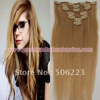 "24"" 20"" Clip in hair extensions 70g clip on human hair extensions #27 dark honey blonde"