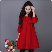 [LYNETTE'S CHINOISERIE- YHT ] Autumn New Plus Size Women Clothing - Original Red Loose Linen Casual Top Sz S M L XL XXL XXXL
