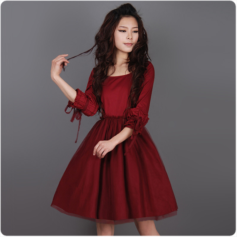 [LYNETTE'S CHINOISERIE] 2013 Autumn New Plus Size Women Clothing - Red Slim Gauze Patchwork Princess Dress Sz S M L XL XXL XXXL(China (Mainland))