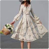 [LYNETTE'S CHINOISERIE - YHT ] Autumn Spring Plus Size Women Clothing - Slim Floral Print Linen Women Dress Sz S M L XL XXL XXXL