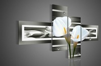 hand-painted wall art black Pure white lilies home decoration Landscape oil painting on canvas 4pcs/set Match framework DY-040