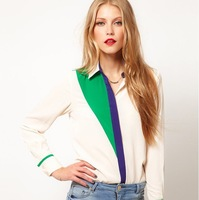 Кожаная куртка 2012 new fashion womens' Pu Leather collar Patchwork Pullover blouse shirts Casual coat quality design elegant tops