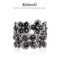 Thai silver ring flower rhinestone vintage Women ring birthday gift