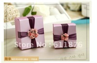 candy box , purple gift box with flower decoration, DS06 , gift package, wedding favors, free shipping