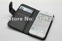 1pcs/lot free dropshipping For iPhone 5 Flip leather case, Wallet Flip Case with Credit ID Card Holder leather case for iphone5