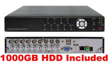 New 8CH H.264 CCTV Digital Video Recorder DVR +1TB Hard Drive Disk HDD Freeshipping