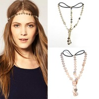 Disc Coin Crown Hair Cuff Wrap Headband Headwrap Headdress Boho Punk Goth Chain[200306 ]