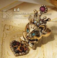Wholesale-fashion fairy fox leopard grain peach heart pendant retro ring new#G632