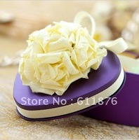 candy box , purple heart gift box with artificial flower decoration, T02 , tin box gift package, wedding favors, free shipping