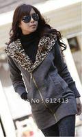 New Korean Women's leopard Hooded Cotton Jacket Wild Thick Warm Coat Cotton (Gray/camel/black) W-005