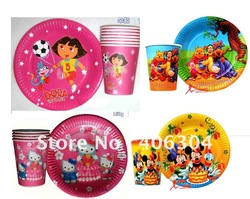 Free shipping ,mickey mouse ,DORA ,hello kitty ,Winnie pooh kids/children's birthday party Disposable paper cup and plate set.(China (Mainland))