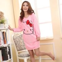 Girl' s Autumn and winter fashion HELLO KITTY coral fleece night sikirt  Women's Pajama