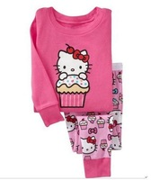 Free shipping 6sets/lot Hello Kitty Pajamas for girls Children's Pajamas suits baby sleeping suits/kids homewear/nightgown