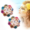 2012 New Style Rose colorful earrings girls accessories fashion stud earring best female gift two colors(Mix Order)