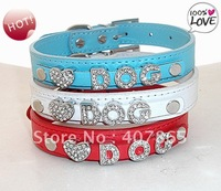 Exquisite fashion diy crystal letter pet collars