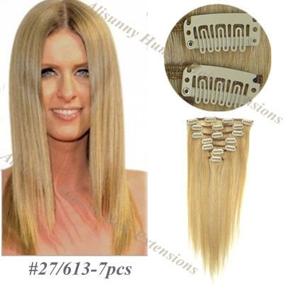 -Clip-in-Extensions-Hair-70g-7pcs-set-Chinese-Remy-Straight-Hair ...