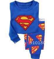 Free shipping 6 sets/lot Cartoon Superman Pajamas set for boys girls Children's Pyjamas kids nightgown/homewear/sleeping suits