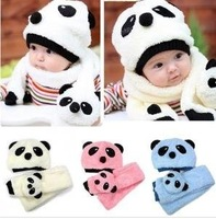 Wholesale hot children hat 12 sets/lot 100% wool hat+scarf 2pcs/set Panda cap children animal hat Warm winter 4 colors 160g/pc