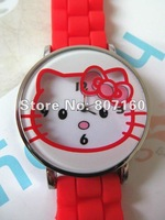 Newest Arrival 10pc/lot Hello kitty watch with silicone wristband 4 colors Available for christmas present Free Shipping KT10247