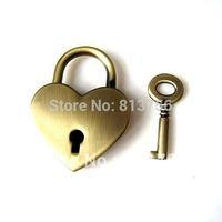 Brass bronze heart lock and key set --Free Shipping