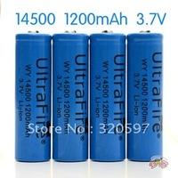 20pcs/lot Ultrafire Li-ion Rechargeable 14500 Battery 3.7V 1200mAh for LED torch/flashlight/Digital Camera without PCB