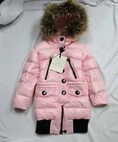 2012 winter large fur collar child down coat female child medium-long large fur collar down coat