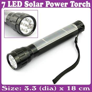 Solar Power 7 LED Flashlight Aluminum Ni-MH Rechargeable Battery_Free Shipping
