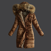 free  shipping New arrival large fur collar all-match fashion thickening thermal medium-long down coat