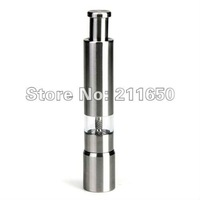 Shipping by DHL FEDEX EMS,Mini Silvery Portable Stainless Steel Salt Pepper Grinder Mill Mull