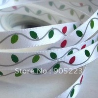 "Free shipping  50Yd 3/8""    Christmas   Satin Ribbon   new wholesale /retail"