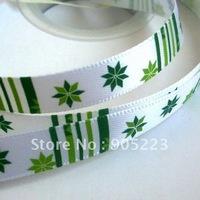 "Free shipping  50Yd 3/8""  Green  Christmas  snowflakes  Satin Ribbon   new wholesale /retail"