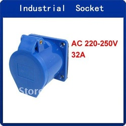 AC 220-250V 32A 2P+E IEC309-2 Industrial Socket w Washer(China (Mainland))