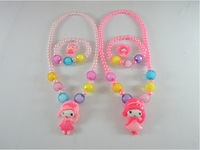 Free shipping children's jewelry set Korean jewelry mini princess pearl necklace bracelet ring three-piece