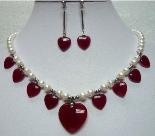 Free Shipping Stunning cultured white pearl & red heart jade necklace earring set(China (Mainland))