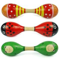 Kids Rattle cartoon wooden multicolour rod double slider sand hammer (CX)