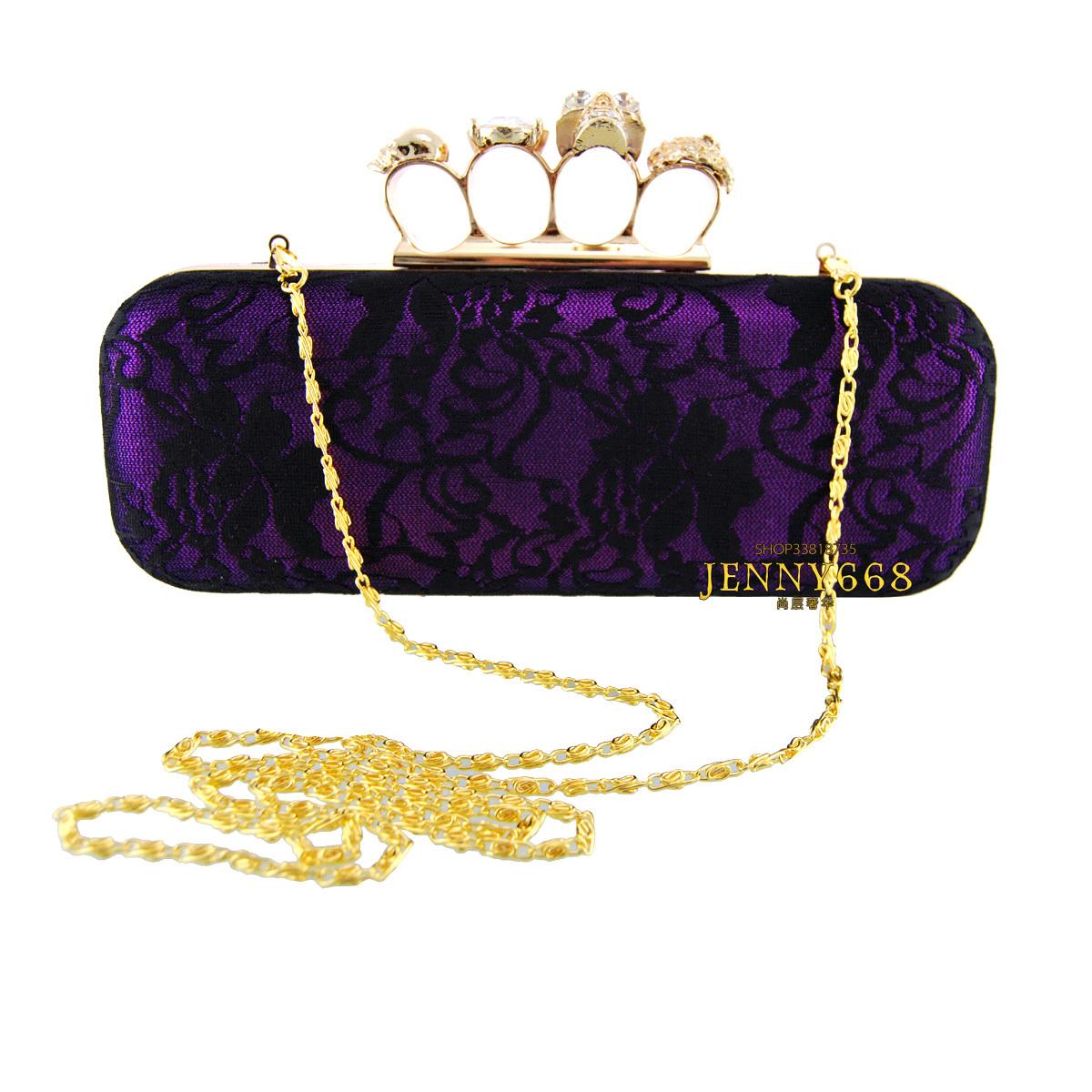 Fashion fashion brief vintage lace ring diamond skull day clutch women's handbag bag wedding package(China (Mainland))