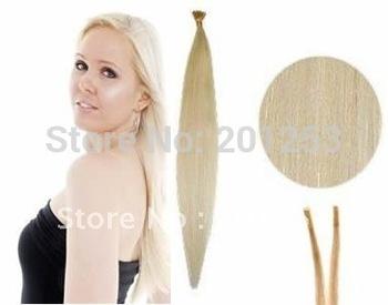 "20"" Hot New Beautiful Stick Remy Human Hair Extensions, Keratin Glue Tip/I Tip, Platinum Blonde #60, 1g/pcs 100pcs/lot"