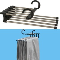 Free shipping plastic Magic trousers hanger/rack multifunction pants closet hanger/rack 5 in one