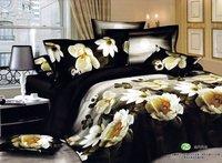 New Beautiful 4PC 100% Cotton Comforter Duvet Doona Cover Sets FULL / QUEEN / KING SIZE bedding set 4pcs black white flower WFP-