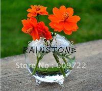 New Party 8cm Artificial Flower Pots Planter for Bonsai Fish 1 Hole in Wedding Home Decor Glass Vases Clear FL149 decorativos