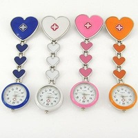 New Hot Popular Fob Heart Nurse Brooch Pocket Quartz Watch Wholesale 5Color GL13T