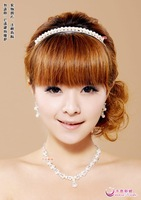 Single row of pearl - bridal necklace earrings piece set the bride accessories