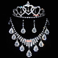 Drop flower bridal necklace earrings rhinestone chain sets full accessories wedding accessories piece set