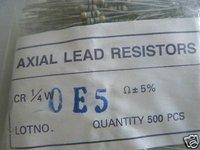 20pcs 1/4W 0E5ohm 5% Carbon Resistor NEW