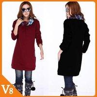 Free Shipping Hitz loose sweater women winter clothing fashion hoodies dress casual 3XL,4XL block ,red ladies' sweater